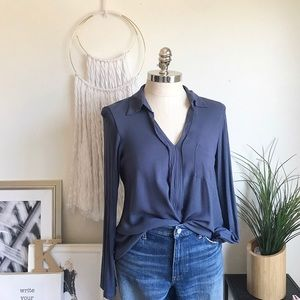 Long sleeve blue collard blouse. Size large.